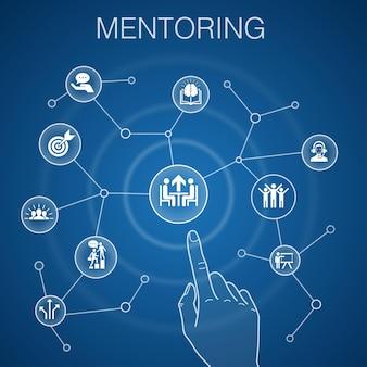 Concetto di mentoring, sfondo blu. direzione, formazione, motivazione, icone di successo