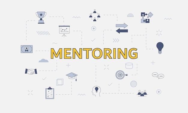 Concetto di mentoring con set di icone con grandi parole o testo al centro
