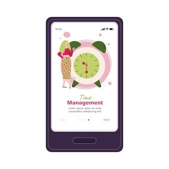 Banner di menu per sito web e app mobile con donna e sveglia