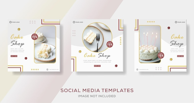 Menu torta dolci banner modello per social media post premium vector