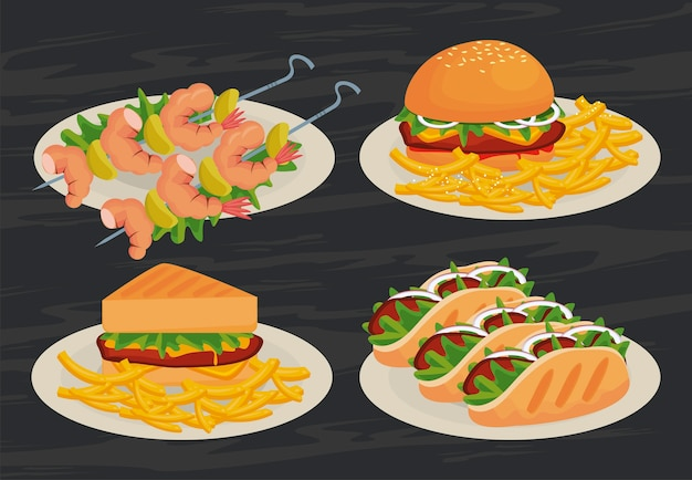 Menu di deliziose icone fast food illustrazione
