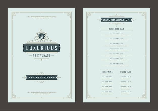 Modello di disegno del menu con brochure vettoriale logo vintage copertina e ristorante. illustrazione del simbolo della forcella e decorazione del telaio e dei turbinii dell'ornamento.