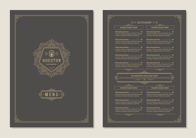 Modello di menu design con copertina e brochure vettoriale logo vintage ristorante restaurant