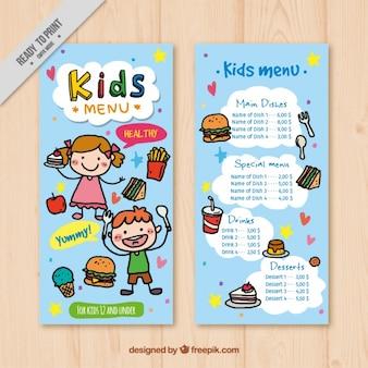 Menu per i bambini con gli elementi disegnati a mano