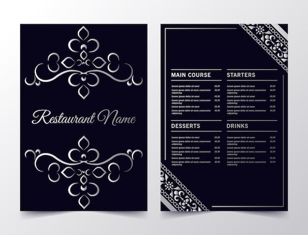 Layout del menu con elementi ornamentali