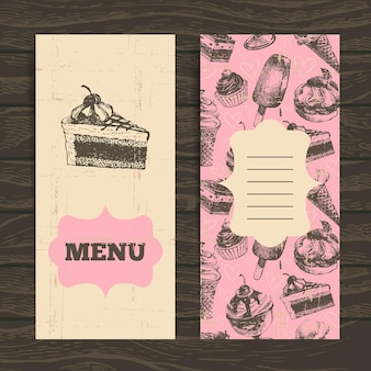 Menu per ristorante, caffetteria, bar, caffetteria. sfondo vintage con illustrazione disegnata a mano