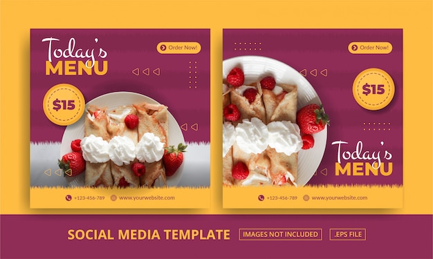 Modello di banner quadrato menu Vettore Premium