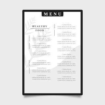Modello di menu eseguito in stile minimalista