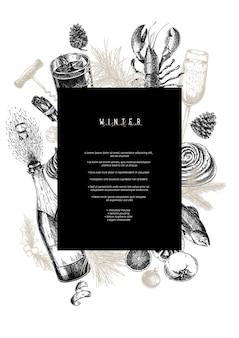 Modello di menu. cibo e bevande di natale dettagliati disegnati a mano. menu alla moda moderno