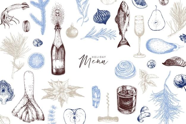 Modello di menu. cibo e bevande di natale dettagliati disegnati a mano. alla moda moderna