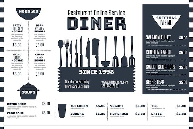 Modello di menu in formato orizzontale