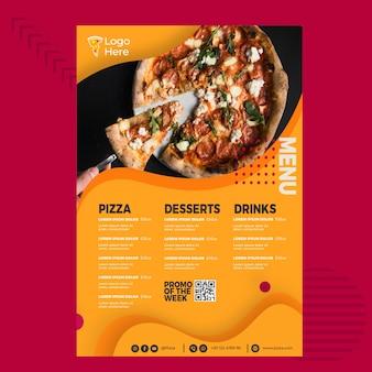 Modello di menu per pizzeria