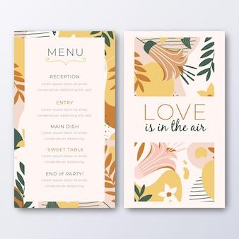 Modello di menu per matrimonio con foglie