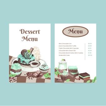 Modello di menu con dessert al cioccolato e menta in stile acquerello