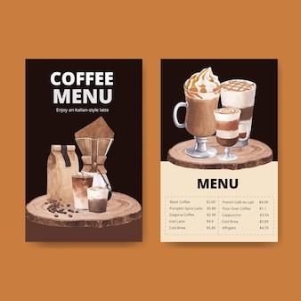 Modello di menu con caffè in stile acquerello