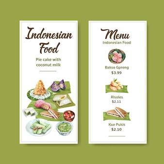 Modello di menu con snack indonesiano