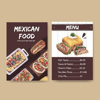 Modello di menu con illustrazione dell'acquerello di concetto di cucina messicana