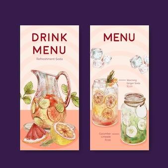 Modello di menu con concetto di bevande rinfrescanti,stile acquerello