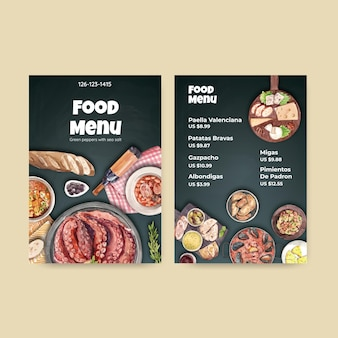 Modello di menu con concept design di cucina spagnola per bisto e illustrazione dell'acquerello del ristorante