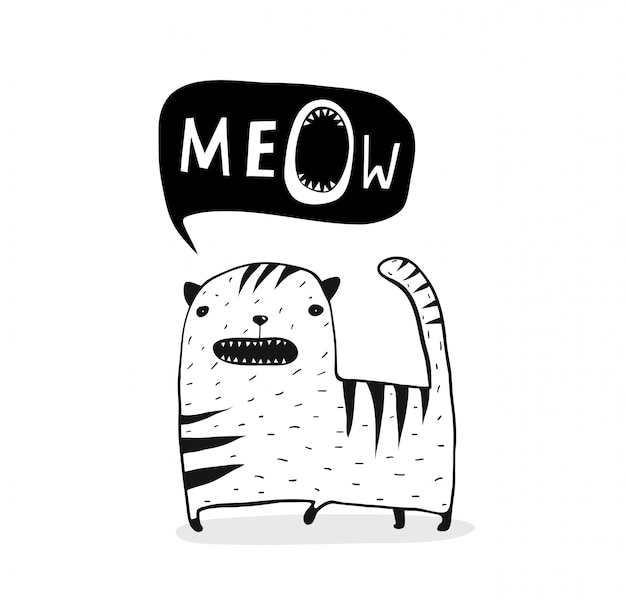 Meow cat outline in bianco e nero