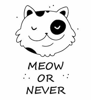 Miao o mai scritte e illustrazione del viso di gatto felice in stile scarabocchio dei cartoni animati