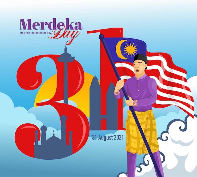 Merdeka day o sfondo di celebrazione del giorno dell'indipendenza della malesia