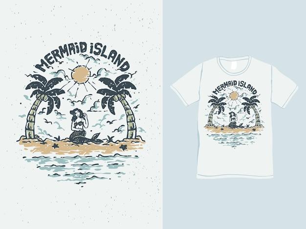La sirena si rilassa sull'illustrazione vintage della spiaggia tropicale