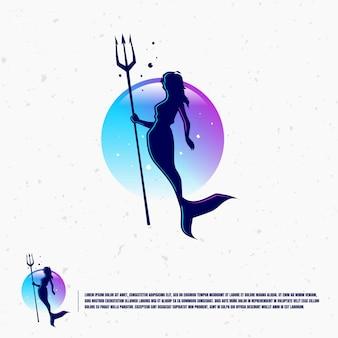 Modello di logo illustrazione sirena