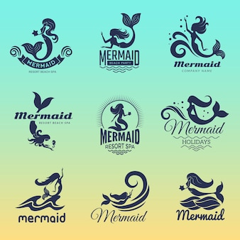 Marchio della sirena. accumulazione dei distintivi di vettore di simboli dell'oceano delle donne da favola di nuotata marina. illustrazione ragazza pesce sott'acqua, set isolato per spa resort