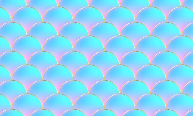 Squame di sirena. squama di pesce. modello kawaii. sfondo olografico dell'acquerello. illustrazione vettoriale di colore. stampa in scala.