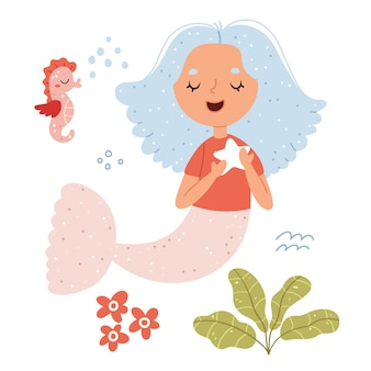 Sirena e cavalluccio marino mondo fantastico sottomarino illustrazione per libro per bambini