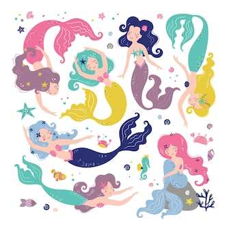 Set sirena con simpatici personaggi isolati. collezione mare Vettore Premium