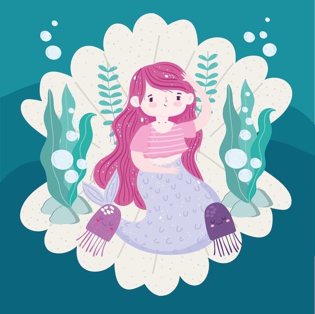 Sirena seduta in conchiglia con illustrazione di meduse