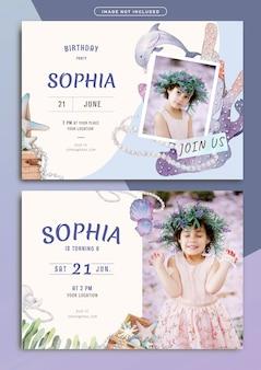 Modello di carta di invito compleanno sirena tema