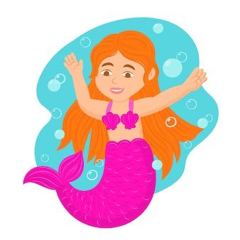Sirena sott'acqua con bolle