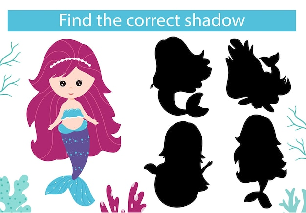 Sirena e mondo sottomarino. trova l'ombra giusta. gioco educativo.