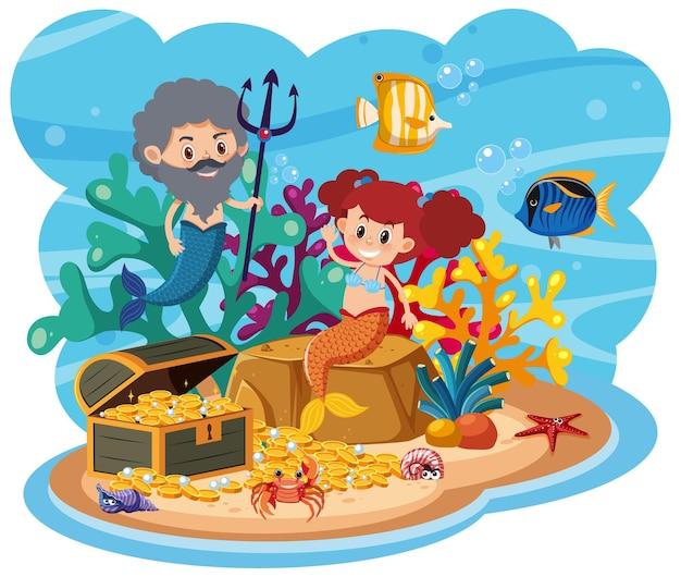 Sirena nel mondo sottomarino