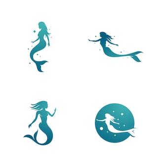 Modello di disegno di illustrazione vettoriale di sirena
