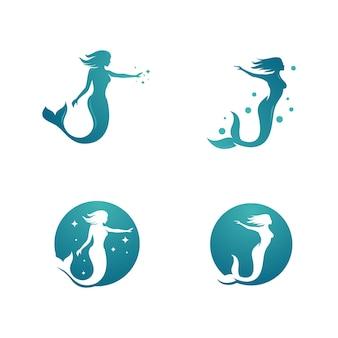 Modello di disegno di illustrazione vettoriale di sirena Vettore Premium