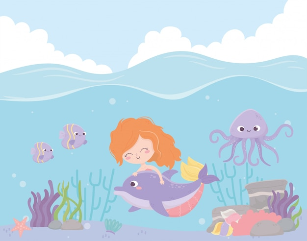 Sirena con polpo delfino pesci corallo cartoon sotto l'illustrazione vettoriale di mare