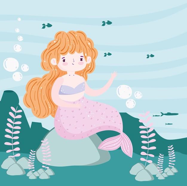 Sirena con pesci nell'illustrazione del paesaggio di mare