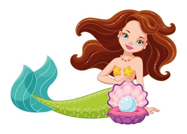 Sirena con illustrazione perla isolata
