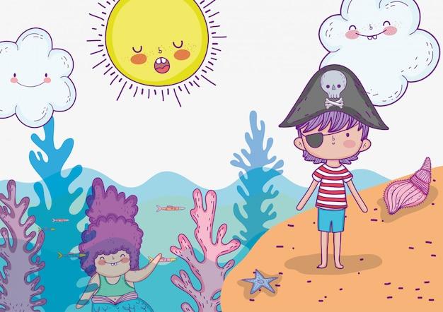 Donna sirena con ragazzo pirata e sole