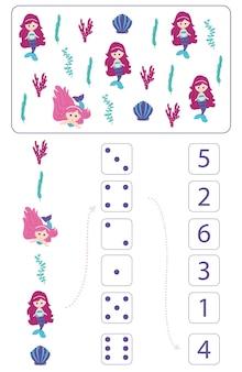 Sirene. foglio di lavoro per l'insegnamento della matematica e del calcolo. per bambini in età prescolare e bambini dell'asilo. vettore, stile cartone animato.