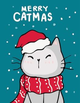 Buon catmas, biglietto di auguri di natale, simpatico gatto birichino con cappello rosso santa, nevicate in fondo blu profondo, mano di doodle di contorno disegnare piatto.