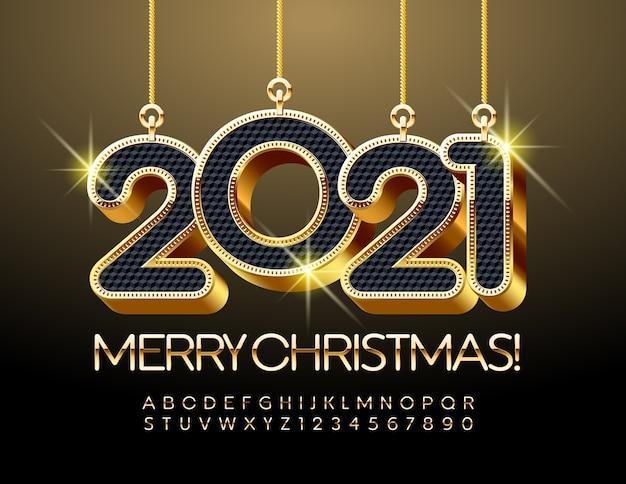 Buon natale 2021. carattere nero e oro. lettere e numeri dell'alfabeto di lusso
