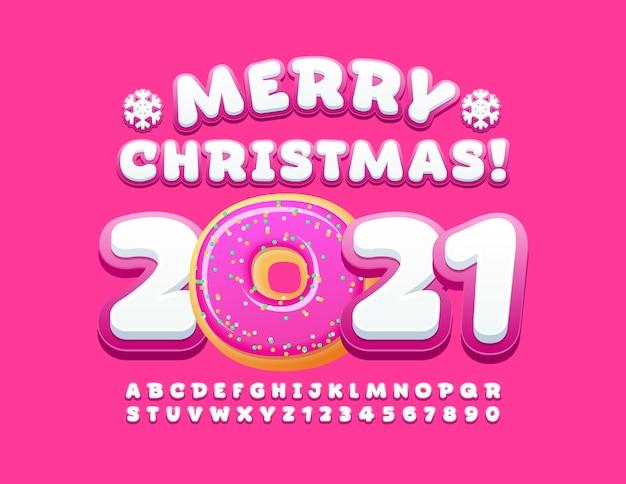 Buon natale 2021. set di lettere e numeri di alfabeto carino