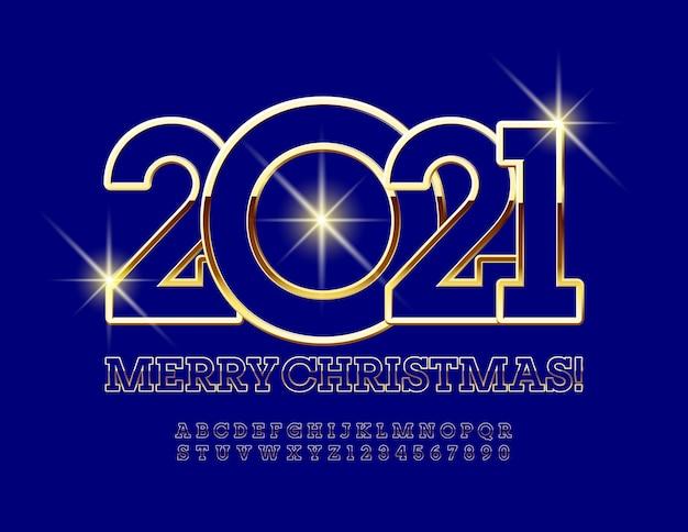 Buon natale 2021. carattere oro e blu. lettere e numeri dell'alfabeto chic