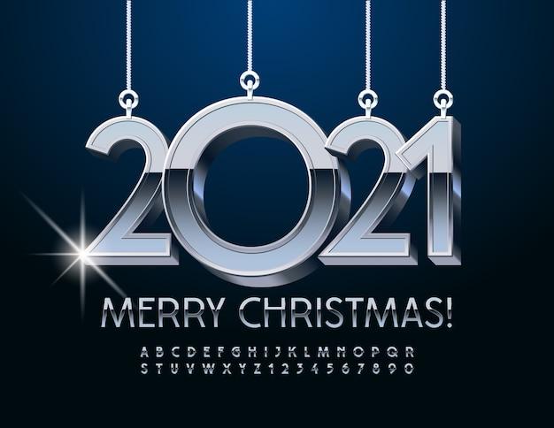 Buon natale 2021. carattere argento metallizzato. lettere e numeri dell'alfabeto cromato