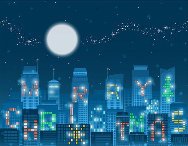 Buon natale alfabeto su edifici